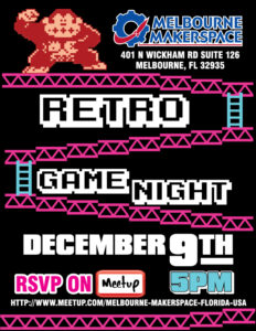 Retro Game Night is Dec 9!
